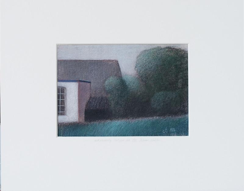 4028 Wit schuurtje met plat dak van Hilmar Schäfer met passe partout en zonder (wissel)lijst