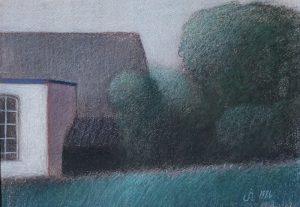 Schilderij/tekening in kleurpotlood van Hilmar Schäfer uit 1986 van een schuurtje met een plat dak