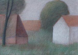 Kleurpotlood tekening 493 Wit huis met verwilderde tuin van Hilmar Schäfer uit 1986.