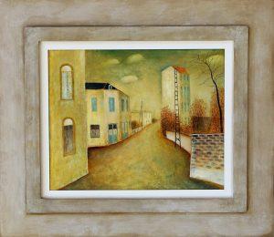 Schilderij van Hilmar Schäfer in Frankrijk van een verlaten straat