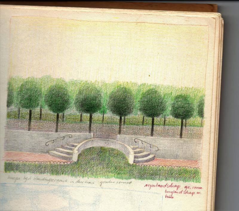 Foto van één van de vele schetsboeken van Himar Schäfer opgeslagen met een tekening in kleur van een trap en bomen.